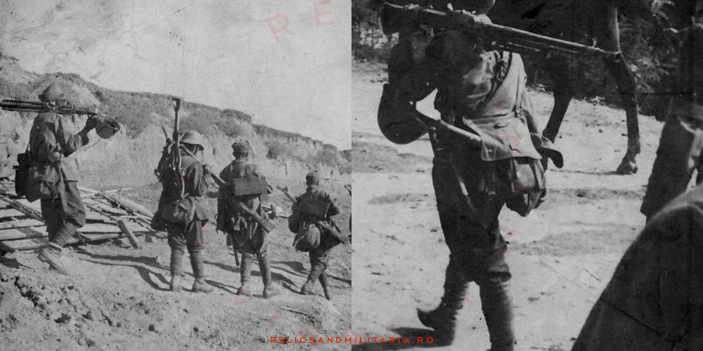 WW2 Romanian soldiers marching with bread bag on shoulder