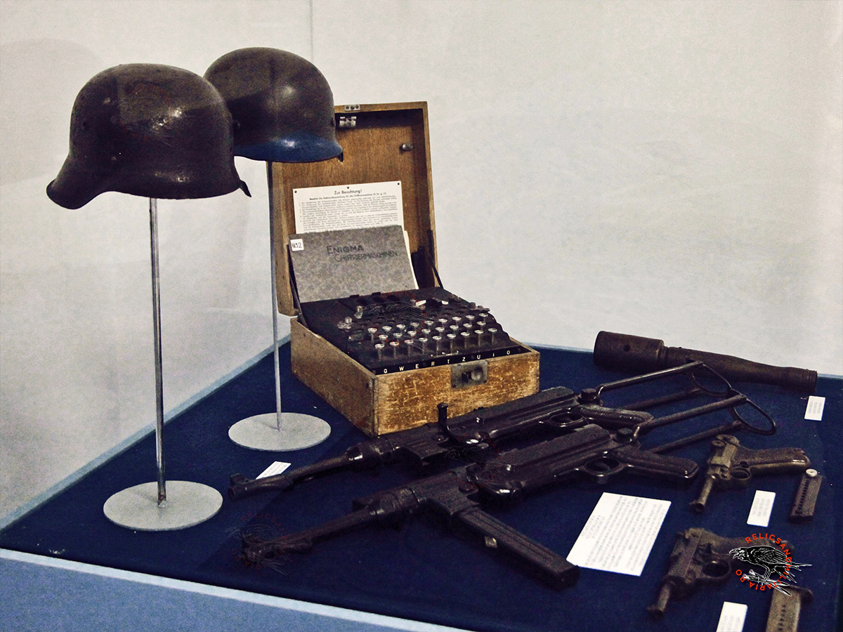 Enigma coding machine and nazi helmets