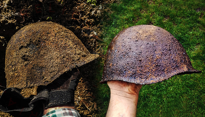 Cleaning a ww2 ssh 40 Russian Helmet