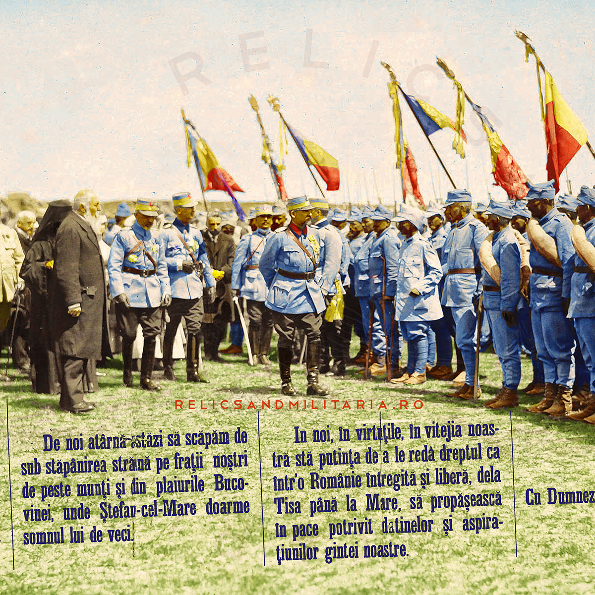 King Ferdinant of Romania saluting the soldiers ww1