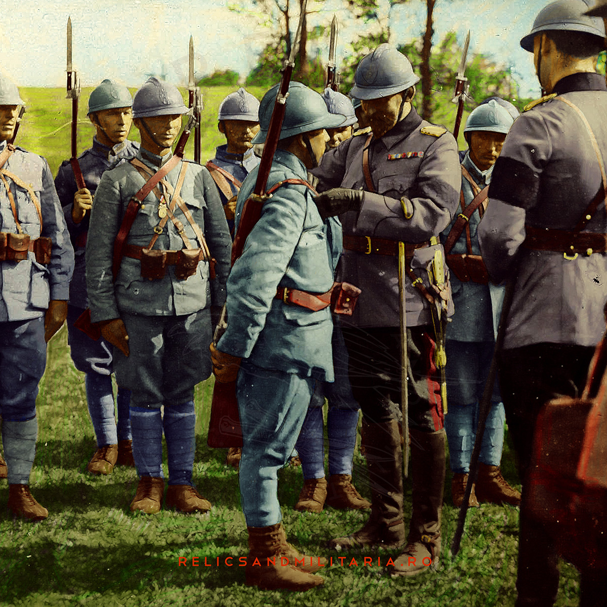 King Ferdinand of Romania awards soldiers for bravery ww1