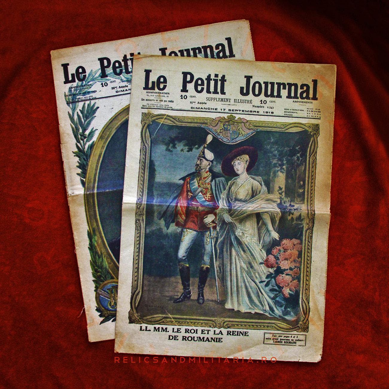 Le petit joural - 17 Septembre 1916 - le Roi et la reine de Roumanie