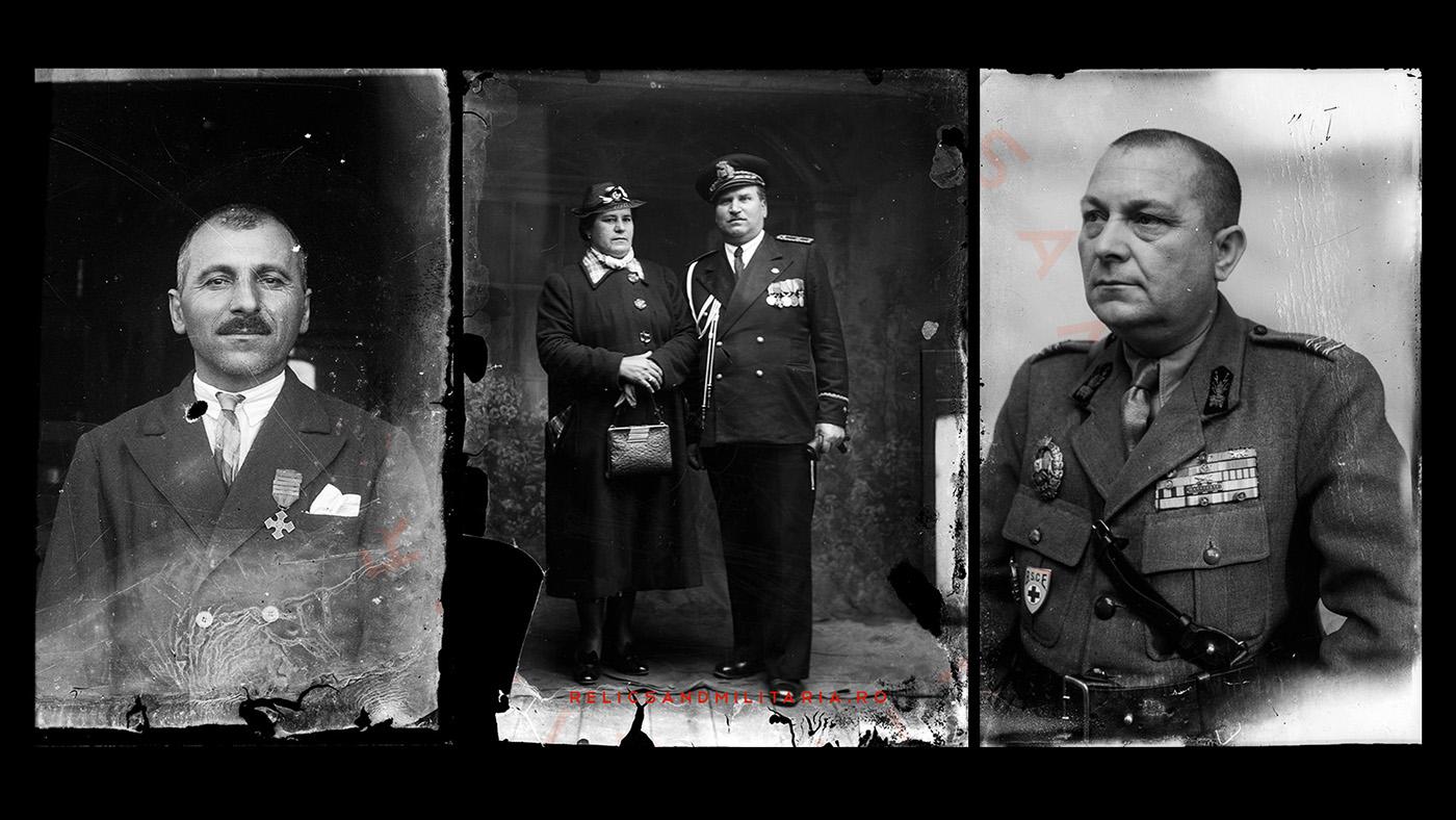 Romanian World War One Veterans wearing the Commemorative Cross Medal