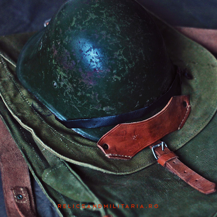 Romanian Army Militaria - backpack & helmet used by soldiers in World War Two