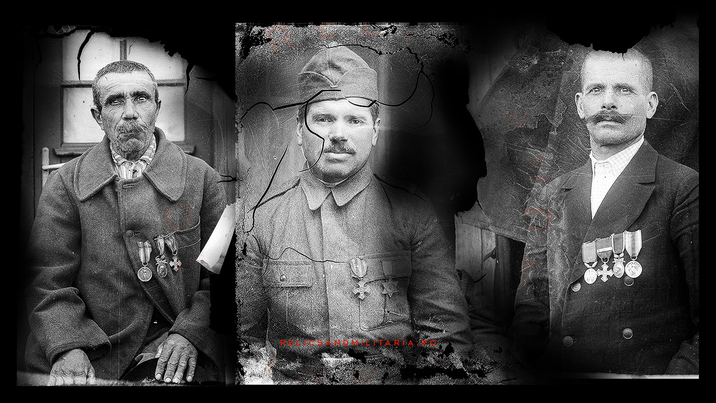 Romanian World War One Veterans wearing the Commemorative Cross Medal