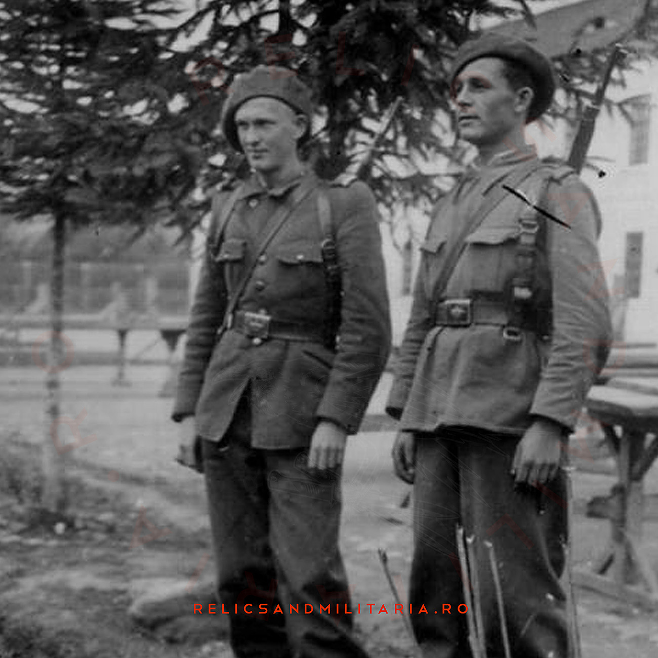 Romanian Soldiers with World War Two Royal Crown belt buckle