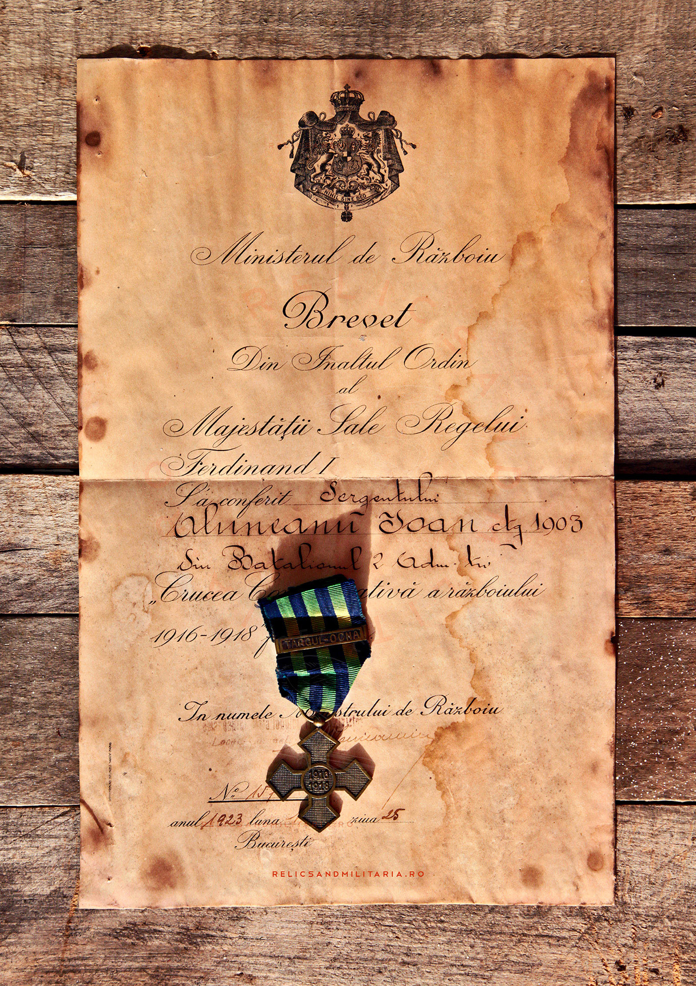 Romanian World War One Commemorative Cross Medal and Award