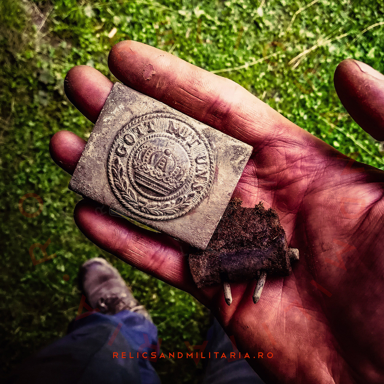 German Prusac ww1 Gott mit uns belt buckle relic found in Romania while metal detecting