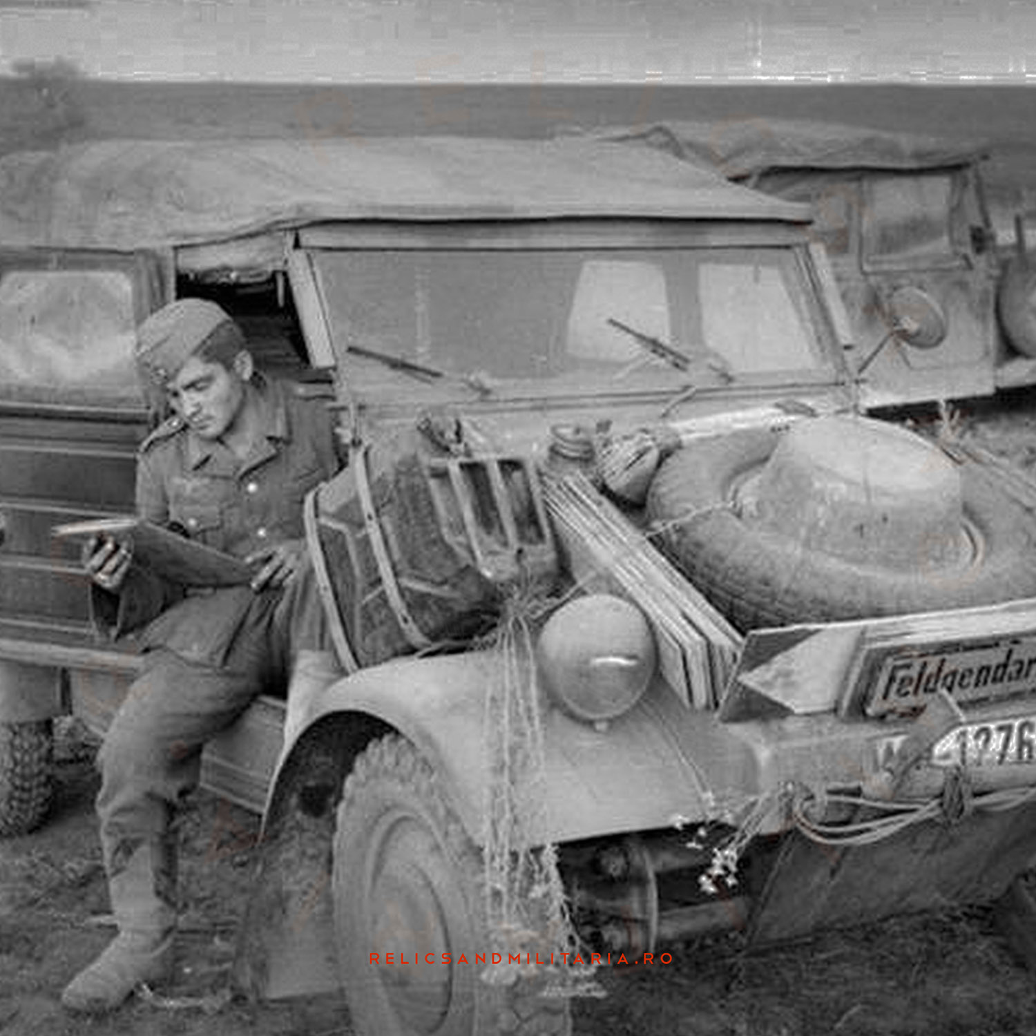 German soldier from the Wehrmacht using a Petrol Jerry Can